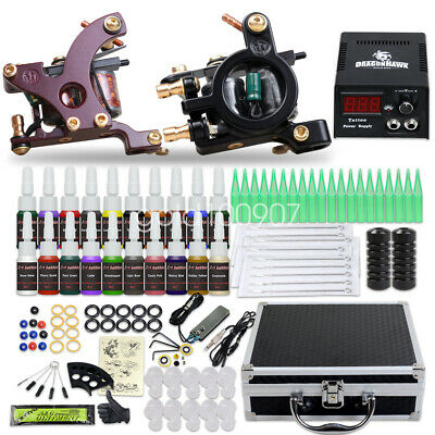 Tattoo Kit 2 Machine Gun Power Supply Set UK color ink Needles Grip 10-24GD-11CE