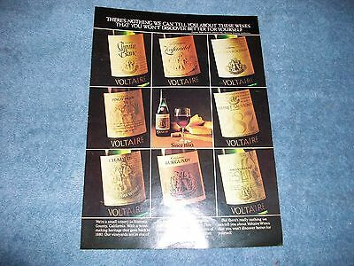 """1975 Sonoma Ca Voltaire Winery Vintage Ad """"There's Nothing We Can Tell You..."""""""