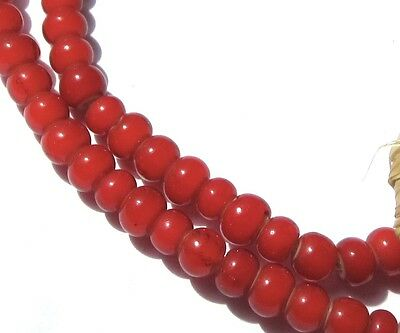 """21"""" Strand Of Beautiful Small Red Venetian White Heart Gass Vintage Beads"""
