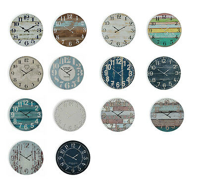 Large Wall Clock Beach, Coloured Boards, Shabby Chic, Teal Boards, Indigo, Blue