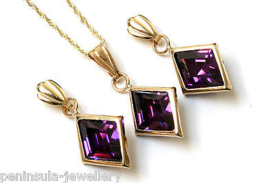 9ct Gold Purple CZ Pendant and Earring Set Made in UK Gift Boxed