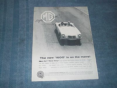 """1960 MG MGB Vintage Ad """"The New '1600' is on the Move!"""""""