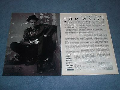 1988 Interview Article with Singer, Song Writer and Actor Tom Waits
