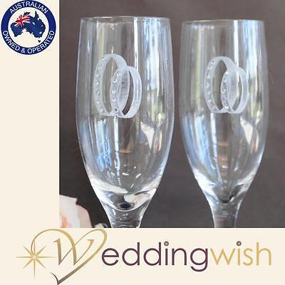 Silver Wedding Rings Toasting Glasses , Wedding Champagne Glasses, Gifts,