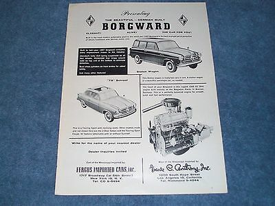 """1957 Vintage Borgward """"TS"""" Sunroof and Station Wagon Ad """"The Car For You!"""""""