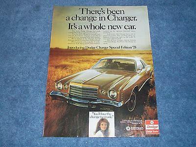 """1975 Dodge Charger Special Edition Vintage Ad """"There's Been a Change in Charger"""""""