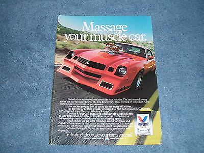 1980's Valvoline Motor Oil Vintage Color Ad with Camaro Street Machine