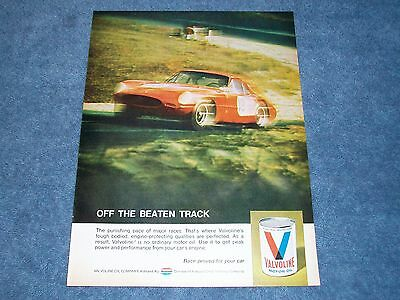 "1969 Vintage Valvoline Oil Ad with Ferrari Car ""Off the Beaten Track"""