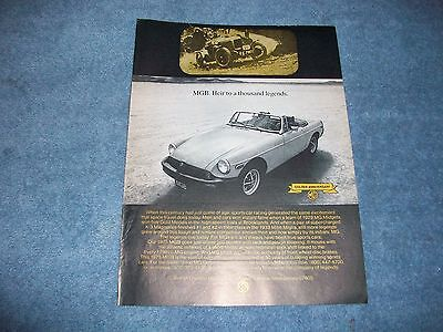 "1975 MG MGB Vintage AD ""Heir To A Thousand Legends"""