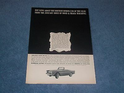 """1964 Sunbeam Alpine Vintage Ad """"Hot News About the Hottest Sports Car..."""""""