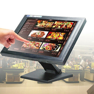 Touch Screen 15-Inch LED TouchScreen PC Monitor USB POS Register with Stand