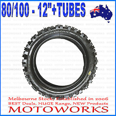 "3.00 - 12 80/100 - 12"" Inch Rear Knobby Tyre Tire + Tube PIT PRO Trail Dirt Bike"