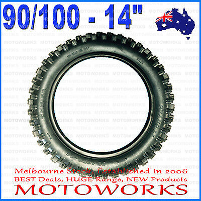 "90/100 - 14"" Inch Rear Knobby Tire Tyre 125cc 140cc BIGFOOT PIT TRAIL Dirt Bike"