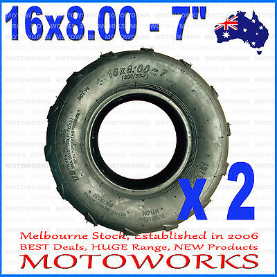 "2 x 16 x 8.00 - 7"" inch Front Rear Tyre Tire 125cc Quad Bike ATV Buggy Gokart"