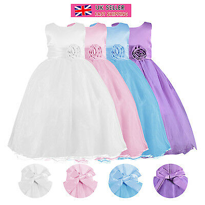 Kids Girls Party Bridesmaid Princess Prom Wedding Flower Communion Dress 3-12 UK