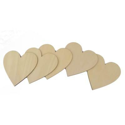5 Unfinished Wooden Wood Heart Shape Pieces Craft Card Making Scrapooking