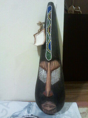 Hand crafted wooden Face figurine with metal & bead work- made in Ghana