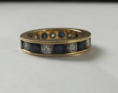 1 Carat Diamond And Sapphire 18ct Yellow Gold Full Eternity Ring
