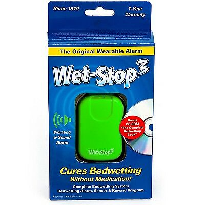 Wet-Stop3 Bedwetting (Enuresis) Alarm System (Green) with Sound and Vibration