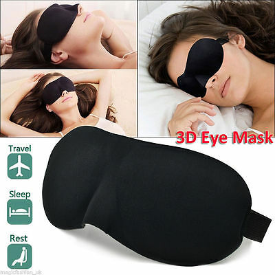 3D Soft Padded Blindfold Eye Mask Travel Rest Sleep Aid Shade Cover Unisex Black