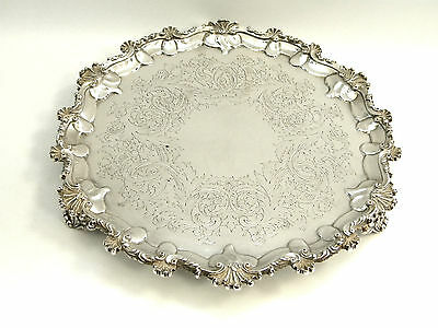 Antique Victorian Solid Silver Salver / Platter / Tray London 1872
