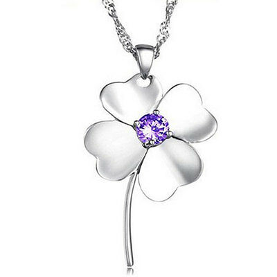 Lucky Crystal Four Leaf Clover with Stem Silver Pendant Necklace