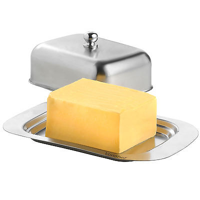 VonShef Butter Dish Cover Stainless Steel Lid Kitchen Tableware Fridge Retro