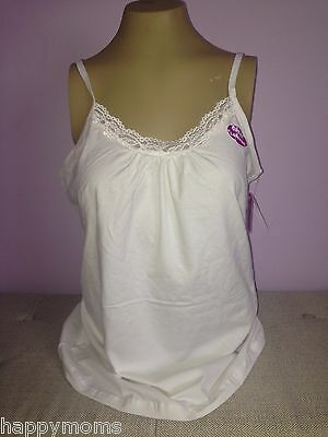 Plus Size Women Cami Tank Top Camisole White Lace Cotton JMS  1X 2X 3X 4X NWT