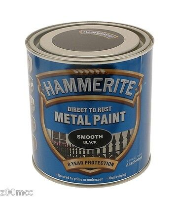 Hammerite Smooth Metal Paint 2.5 Litre Black, Silver, White, Yellow, Dark Green