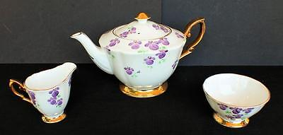 Vintg ROYAL STANDARD England LAVENDER FLOWERS Set Teapot Creamer Open Sugar Bowl