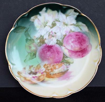 "Antique JHR Bavaria Germany Hand Painted CHARLOTTE PEACH & FLOWERS 7"" Plate"