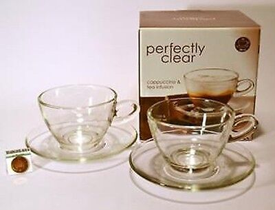 Glass Cafe Style Cappuccino Tea Cup & Saucer 300ml Set of 2 Boxed UK