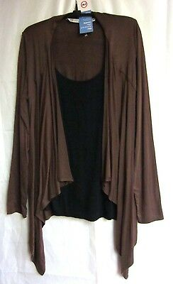 Japanese Weekend D&a Maternity Nursing Jacket W/shell Brown & Black Nwt Size M