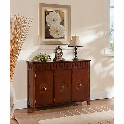 Kings Brand Walnut Finish Wood Console Sideboard Buffet Table With Storage New~