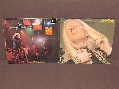JOHNNY WINTER 2 LP RECORD ALBUMS LOT COLLECTION Still Alive and Well/Live BLUES