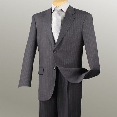 New ! Business Suits Charcoal Men's Fashion Classic Fit Suits Pin Stripe 2Rs16