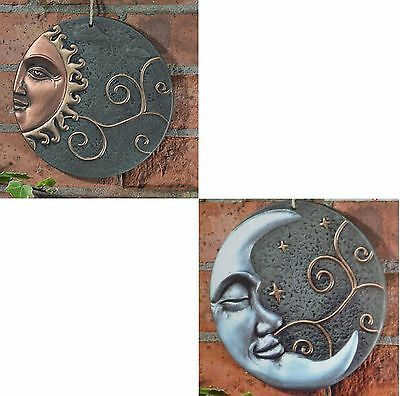 Garden Sun or Moon Wall Plaque Decorative Outdoor Hanging Art Ceramic Ornament
