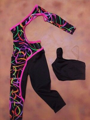 NWOT UNIQUE Jazz ACRO Unitard Child Sizes Asymmetrical cutout Unitard