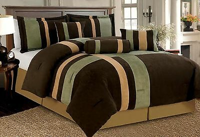 7 Piece Brown Beige & Sage Patchwork Micro Suede Comforter Set King, Queen, Full
