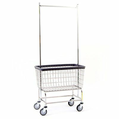 Large Capacity Commercial Quality Wire Laundry Cart w Double Pole Rack