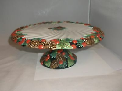 Fitz & Floyd Christmas Pine Cones Holly HOLIDAY PINE Footed Cake Plate MINT