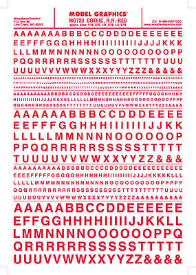 """Woodland Scenics MG723 Gothic R.R. Letters Red 1/16-5/16"""" Train Decal Sheet"""