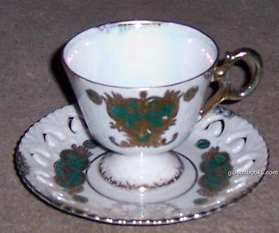 Vintage China Made in Japan Green and Gold Cup and Pierced Saucer