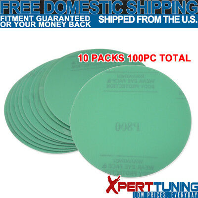 Fit x100 Pcs Wet Dry Green Sanding Paper Repair Sand Disc 800 Grit 5 Inch PSA