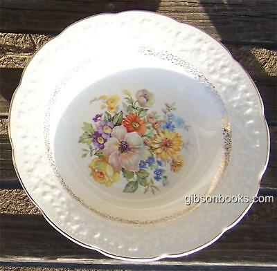 Vintage Knowles China Soup Bowl with Floral Bouquet and Gold Trim