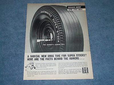 "1964 M&H Racemaster Super Stock Tires Vintage Ad ""Pssst The Secret's Leaked Out"""