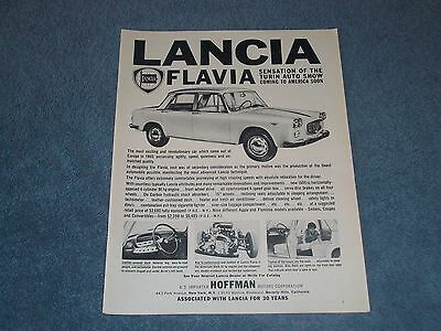 "1961 Lancia Flavia Vintage Ad ""Sensation of the Turin Auto Show..."""