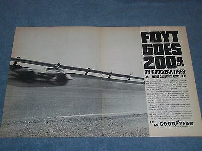 "1964 Goodyear Tires Vintage 2pg Ad A.J. ""Foyt Goes 200.4 MPH on Goodyear Tires"""