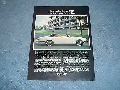 "1976 Jaguar XJC Vintage Ad ""The Corporate Sports Car"""