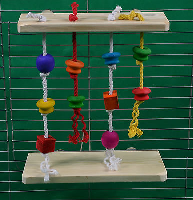 Pack 2 Shelves with Dangling Rope & Wood Toys Rat, Chinchilla,Degu Cage